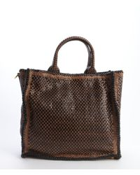 Prada Brown and Black Woven Leather Madras Convertible Tote - Lyst