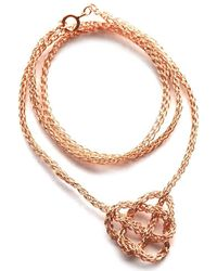 Yoola Celtic Heart Rose Gold Crochet Necklace pink - Lyst