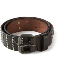 Diesel Black Studded Belt - Lyst