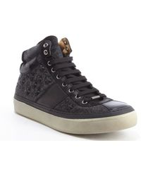 Jimmy Choo Grey and Black Leather and Flannel Star Studded Belgravi Hightop Sneakers - Lyst