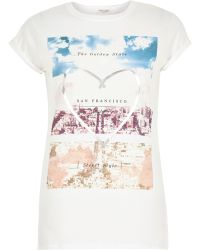 River Island White Golden State Print Short Sleeve T-Shirt - Lyst