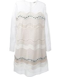 Issa Sheer Panel Embroidered Dress - Lyst
