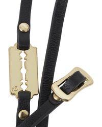 McQ - Black Razor Embellished Leather Wrap Bracelet - Lyst