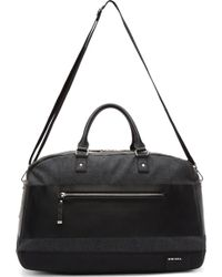 Diesel Black Denim and Leather Blockin Weekender Bag - Lyst