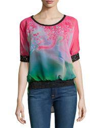 Alberto Makali Floral-Print Short-Sleeve Blouse - Lyst