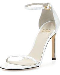 Stuart Weitzman Nudist Metallic Ankle-strap Sandal - Lyst