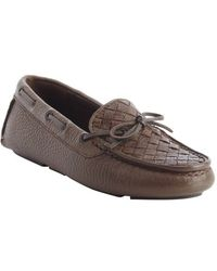 Bottega Veneta Brown Intrecciato Leather Boatstitched Loafers - Lyst