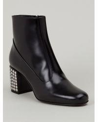 Saint Laurent Studded Heel Ankle Boots - Lyst