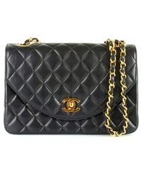 Chanel Pre-Owned Black Rounded Flap Shoulder Bag - Lyst