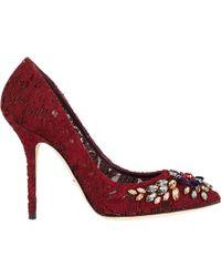 Dolce & Gabbana Jeweled Lace Pumps - Lyst