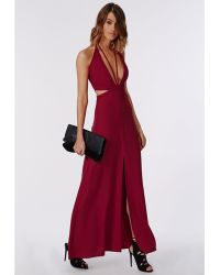 Missguided Bella Red Chiffon Strappy Maxi Red - Lyst