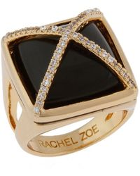 Rachel Zoe 14kt Gold and Onyx Facets Pyramid Ring - Lyst
