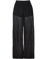 M Missoni Zig Zag Crochet Sheer Trousers - Lyst