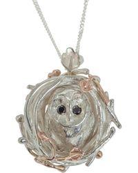 By Emily - Barn Owl Necklace Black Diamonds - Lyst