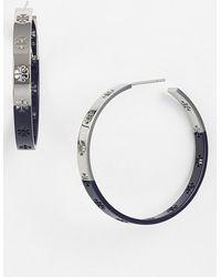 Tory Burch Logo Enamel Dipped Hoop Earrings - Tory Silver/ Navy - Lyst