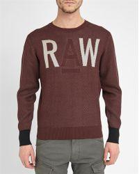 G-Star RAW | Burgundy Raw Elur Pr Logo Round-neck Sweater | Lyst