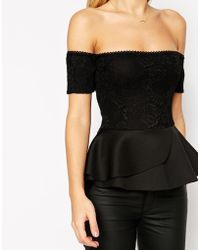 Asos Peplum Top With Bardot Off Shoulder In Bonded Lace - Lyst