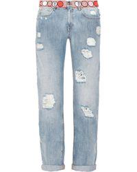 Emilio Pucci Embellished Midrise Boyfriend Jeans - Blue