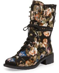 Sam Edelman Darwin Floral Print Canvas Combat Boot - Lyst