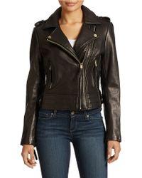 Michael Kors Leather Moto Jacket - Lyst