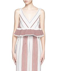 Elizabeth and James | 'annaline' Ruffle Hem Stripe Crop Top | Lyst