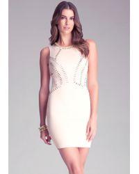 Bebe Embellished Seam Dress - Lyst