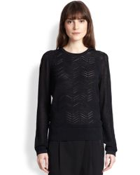 Vince Zigzag-Patterned Cotton Open-Knit Sweater - Lyst