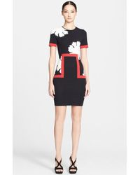 Alexander McQueen Peony Intarsia Knit Pencil Dress - Lyst