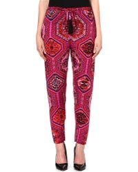 Emilio Pucci Printed Silk Trousers Red - Lyst