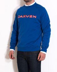 Carven Blue Cotton Sweater With Orange Logo blue - Lyst