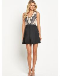 Oasis Lace Trim Structured Skater Dress - Lyst