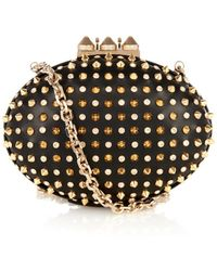 Christian Louboutin Mina Stud And Crystal Leather Clutch - Lyst