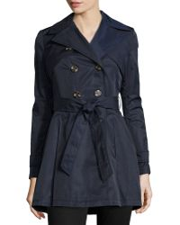 Laundry by Shelli Segal Box-Pleated Belted Trenchcoat - Lyst