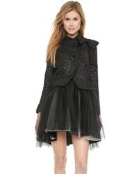 Alice + Olivia Alice  Olivia Hope Cropped Bow Jacket - Black Metallicblack - Lyst