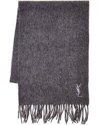 Saint Laurent Gray Wool Scarf - Lyst