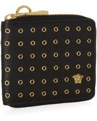 Versace Studded Zip-around Wallet - Lyst