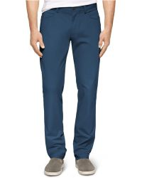 Calvin Klein Four-Pocket Sateen Bowery Slim-Fit Casual Pants - Lyst