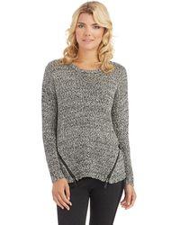 Kensie Zipper Accented Sweater - Lyst