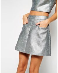 Asos Black Mini Skirt In Glitter - Lyst