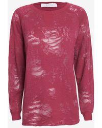 Iro Long-Sleeve Burnout Top: Dark Pink - Lyst