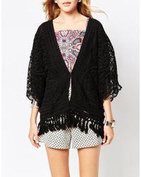 Greylin Nikole Crochet Fringe Jacket - Black