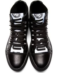 Versus  Black Logo Tongue Leather Sneakers - Lyst