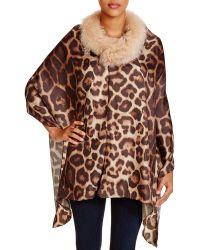 Badgley Mischka Animal Print Wrap With Fox Fur Stole - Natural