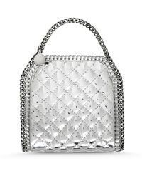 Stella McCartney Falabella Quilted Metallic Mini Tote Bag silver - Lyst