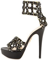 Charlotte Olympia Xena Triple-Buckle Leather Platform Sandal - Lyst