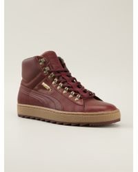 Puma Red Hi-top Sneakers - Lyst