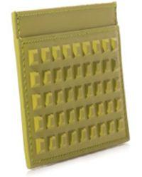 Balenciaga Grid Square Leather Card Holder - Lyst