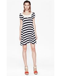French Connection Striped Crochet Detail Dress - Lyst