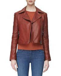 J Brand Aiah Zipfront Leather Jacket Raw Sienna Medium68 - Lyst
