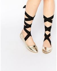 Glamorous Metallic Ballet Flat With Contrast Ribbon
